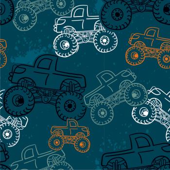 FRENCH TERRY | Digitale bedrukking - Monster trucks - petrol