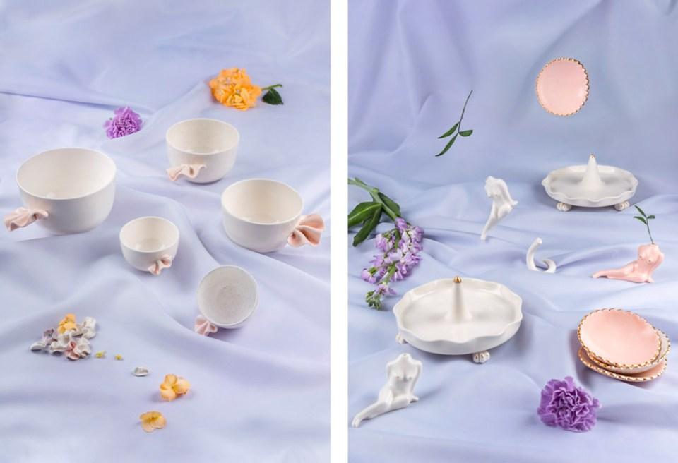créations Stéphanie Goye vaisselle porcelaine or
