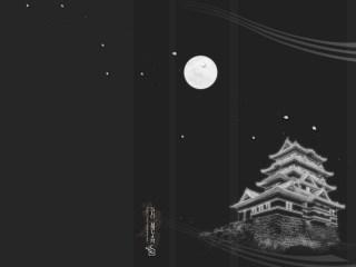 城と満月のデスクトップ壁紙
