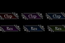 黒背景用のゴシックなweb拍手ボタン(6パターン)