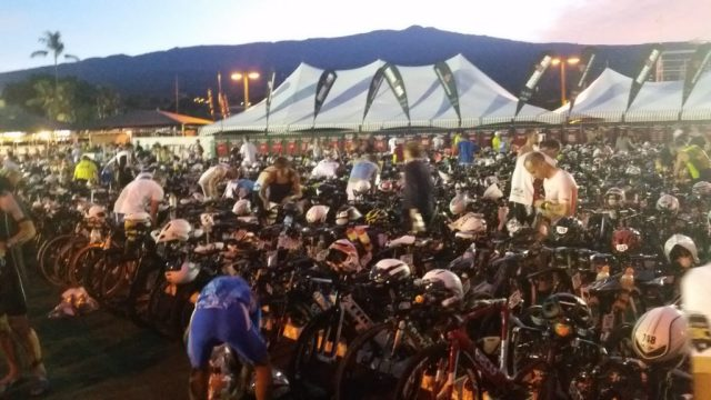 Athletes in transition making final preps before the race start of the 2016 IRONMAN World Championship