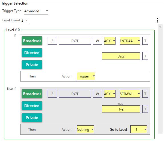 interface de déclenchement