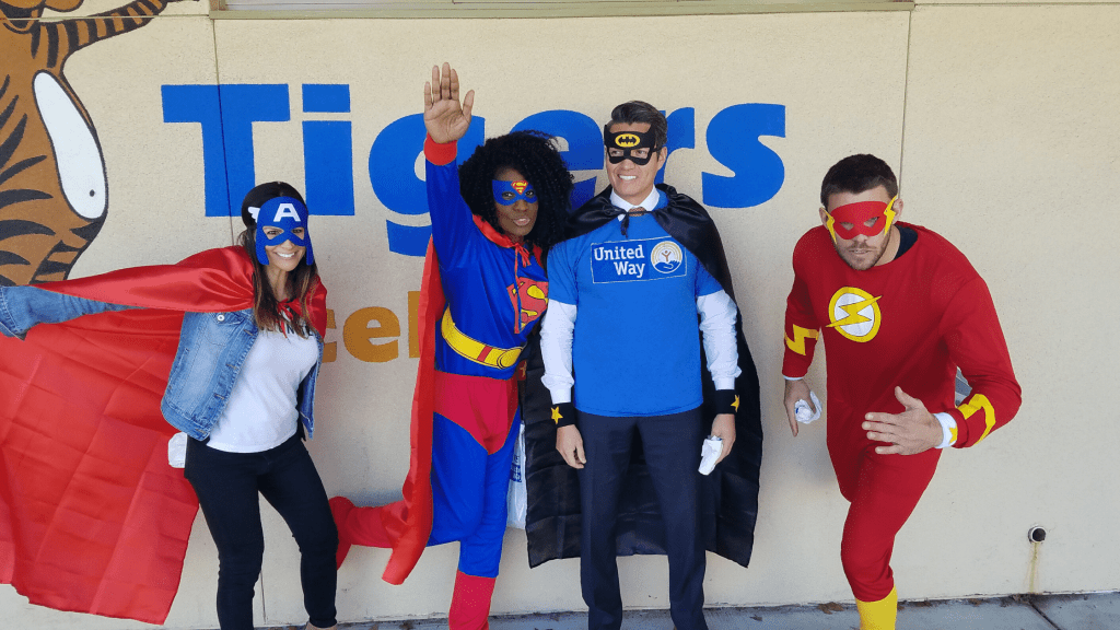 United Way of San Diego County Employees dressing up at super heroes