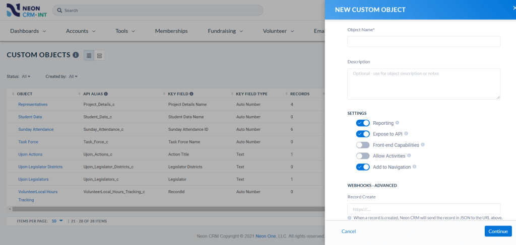 Neon CRM's custom objects module allows you to customize your CRM instance to fit your needs.