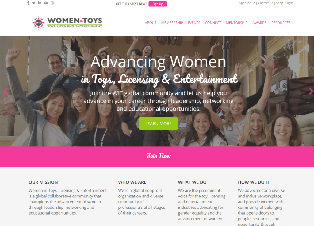 women in toys homepage