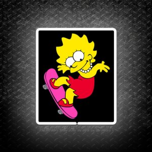 Lisa Simpson On A Skateboard 3D Neon Sign