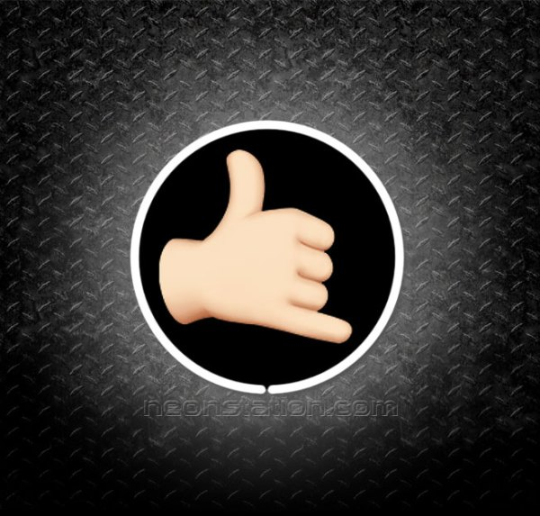 Call Me Hand Sign Emoji 3D Neon Sign