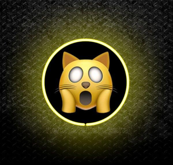 Cat Face Screaming In Fear Emoji 3D Neon Sign