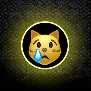 Crying Cat Face Emoji 3D Neon Sign
