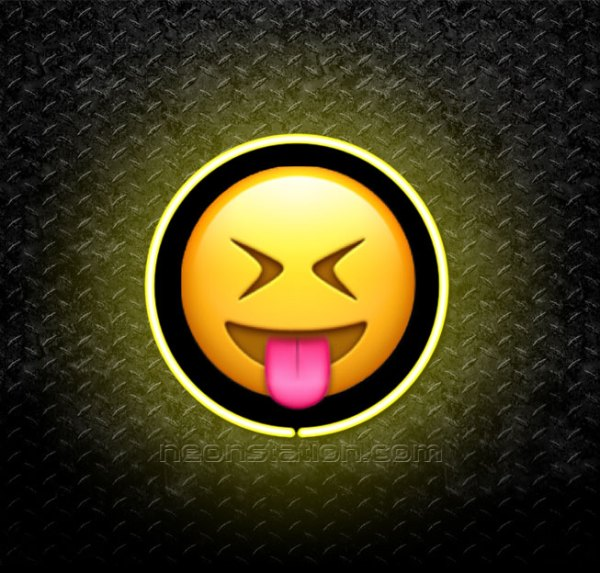 Face With Stuck-Out Tongue And Tightly Closed Eyes Emoji 3D Neon Sign