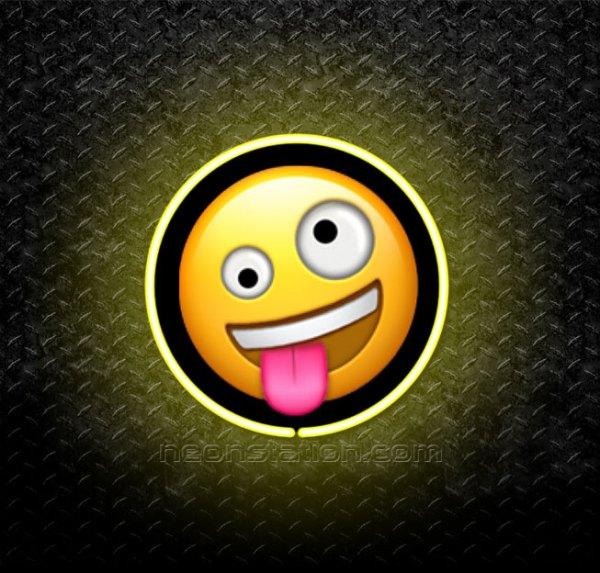 Goofy Face Emoji 3D Neon Sign