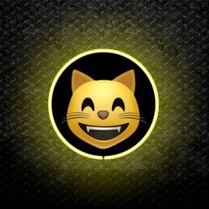 Grinning Cat Face Emoji 3D Neon Sign