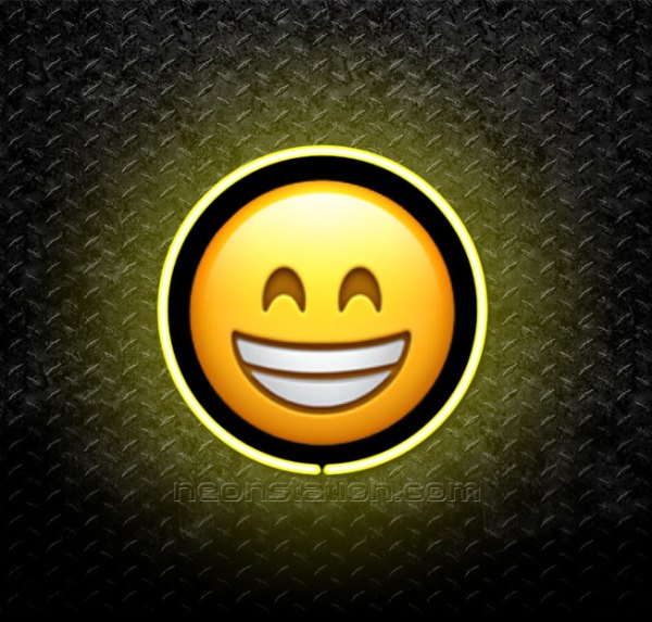 Grinning Face With Smiling Eyes Emoji 3D Neon Sign