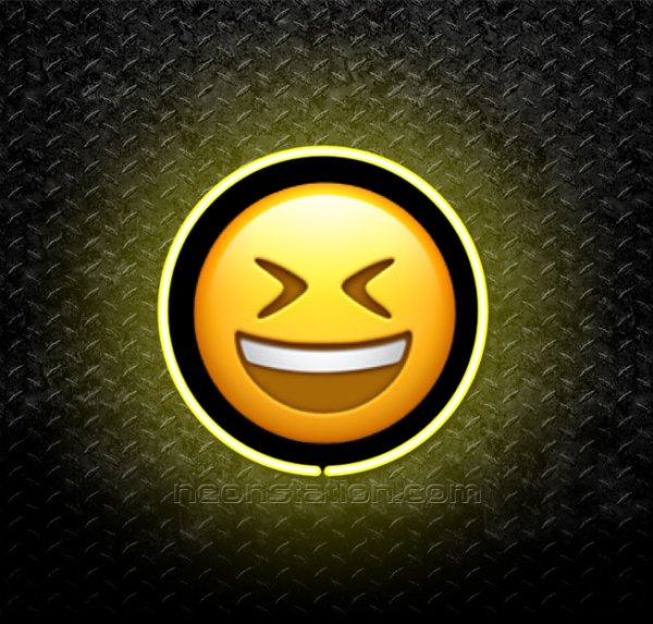 Grinning Face With Tightly Closed Eyes Emoji 3D Neon Sign