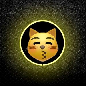 Kissing Cat Face Emoji 3D Neon Sign