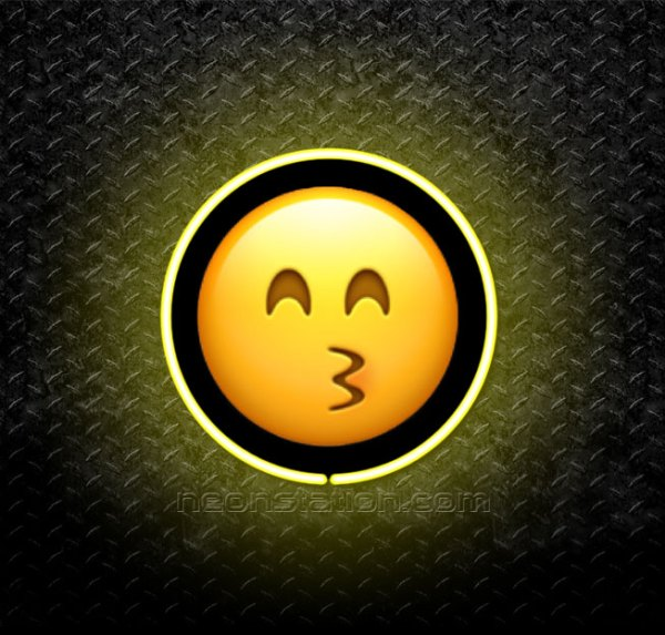 Kissing Face With Squinting Eyes Emoji 3D Neon Sign