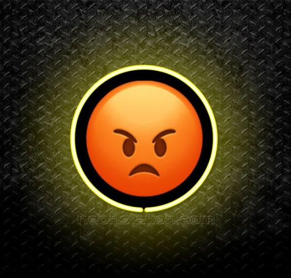Pouting Face Emoji 3D Neon Sign
