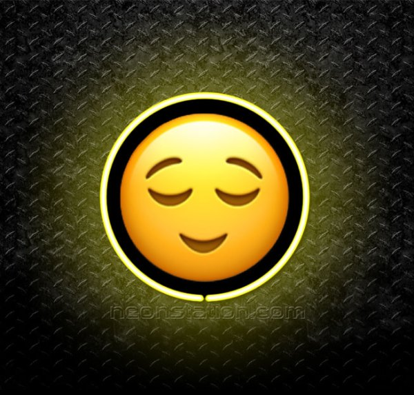 Relieved Face Emoji 3D Neon Sign