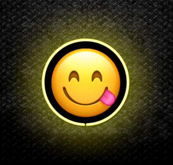 Smiling Face Licking Lips Emoji 3D Neon Sign