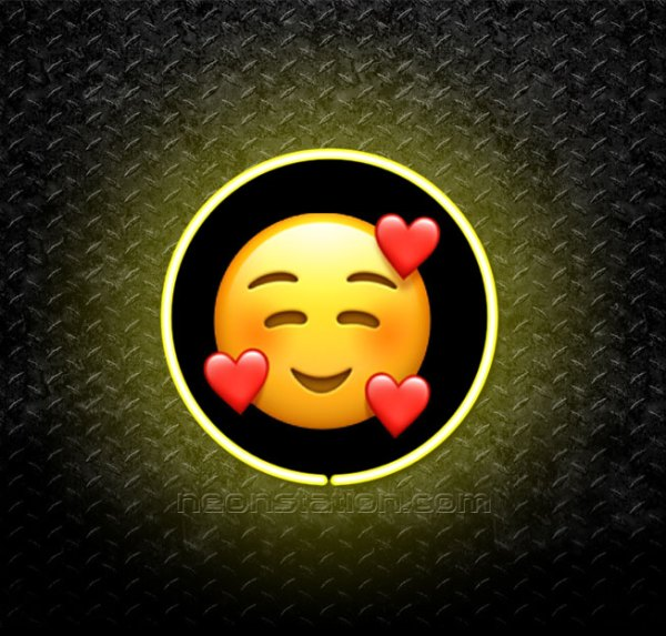 Smiling Face With Hearts Emoji 3D Neon Sign