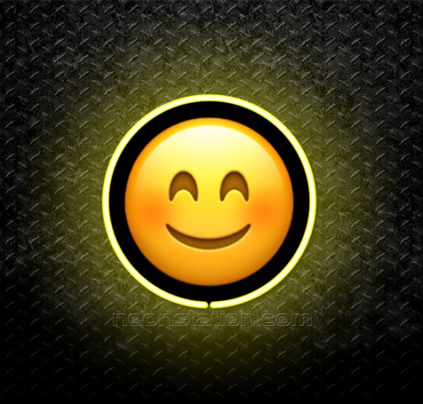 Smiling Face With Squinting Eyes Emoji 3D Neon Sign