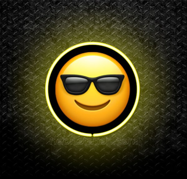 Smiling Face With Sunglasses Emoji 3D Neon Sign