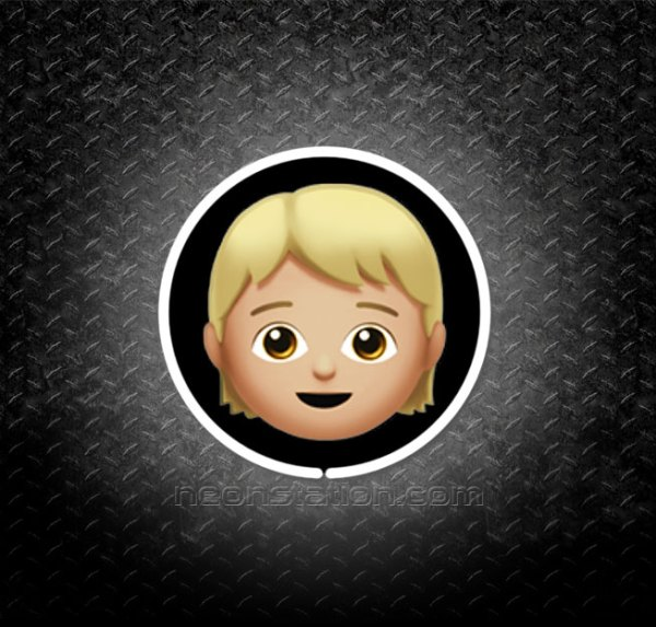 Child Face With Blonde Hair Emoji 3D Neon Sign