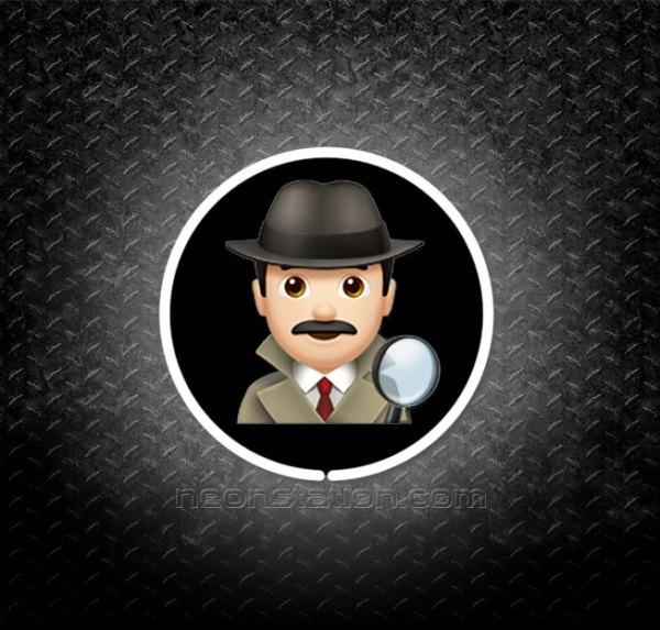 Detective Man Emoji 3D Neon Sign