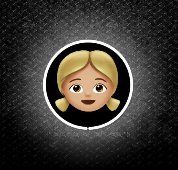 Girl Face With Blonde Hair Emoji 3D Neon Sign