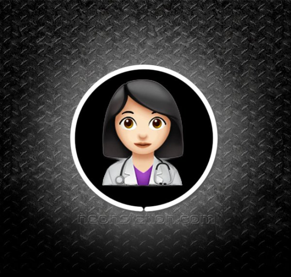 Woman Doctor With Black Hair Emoji 3D Neon Sign