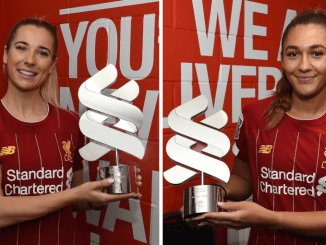 Kirsty Linnett and Jade Bailey have collected their Standard Chartered Player of the Month awards ahead of Liverpool FC Women's return to action with a trip to Brighton and Hove Albion on Sunday.