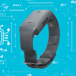 Buzz haptic wristband device with a blue background with white icon pattern of circuits and brains