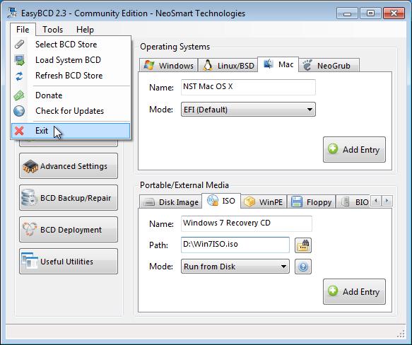 EasyBCD exit menu option