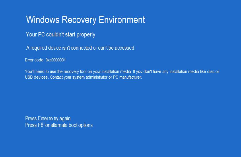 0xc0000001 boot error screen