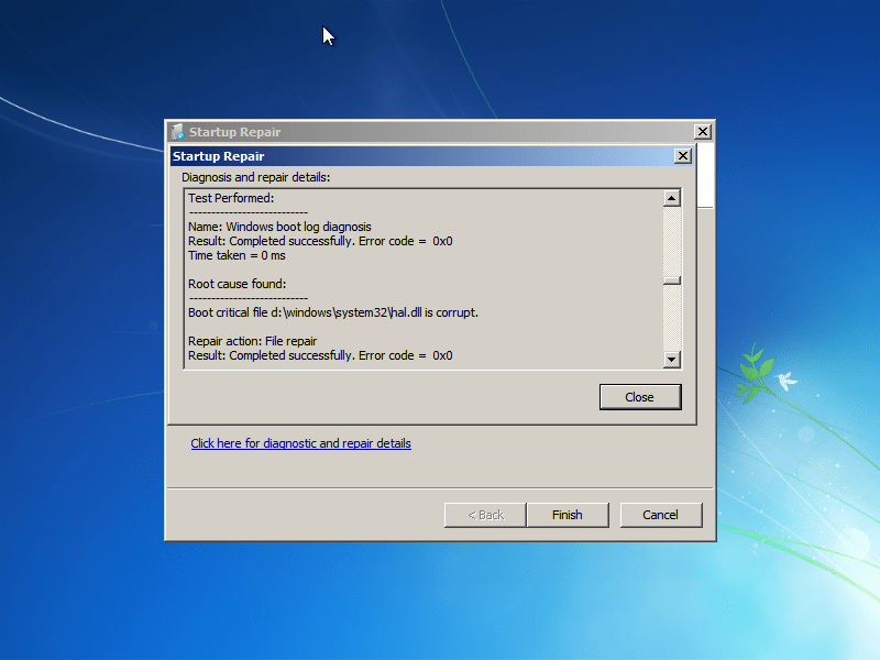 Hal.dll restored by Windows 7 Startup Repair