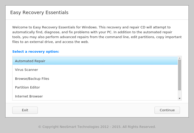 EasyRE Recovery Option screen