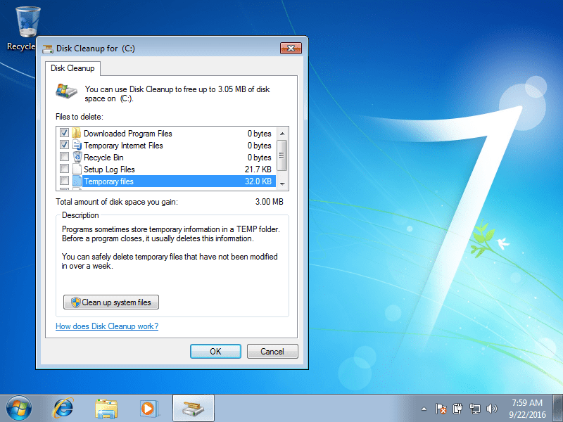 Deleting temp files using Disk Cleanup in Windows 7