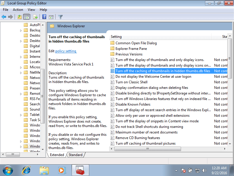 Group Policy screen in Windows 7