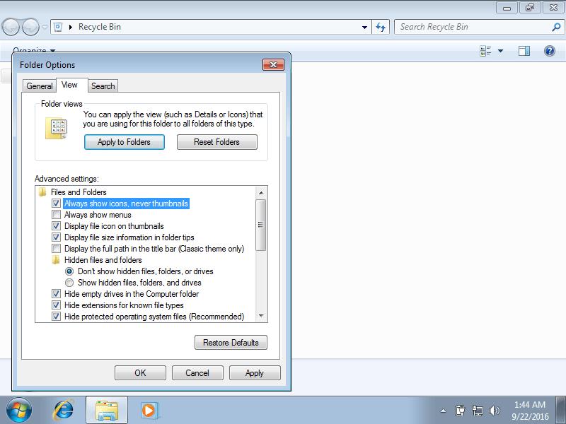 Thumbnails folder options in Windows 7