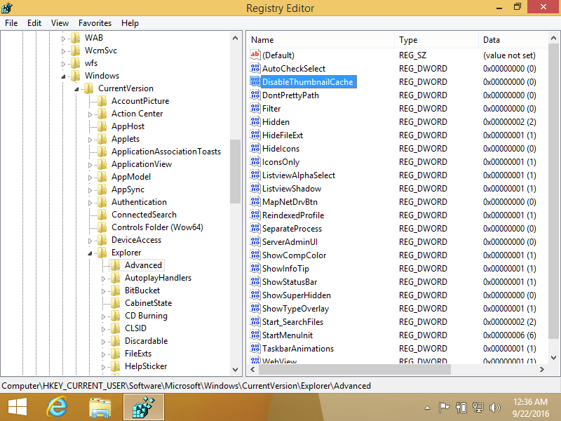 Registry Editor screen in Windows 8