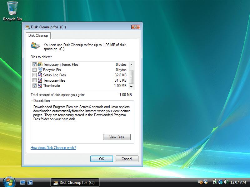 Disk Cleanup in Windows Vista