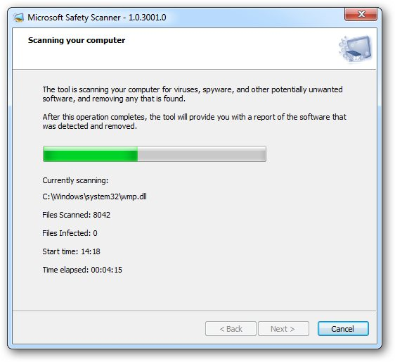 Microsoft Security Scanner screen