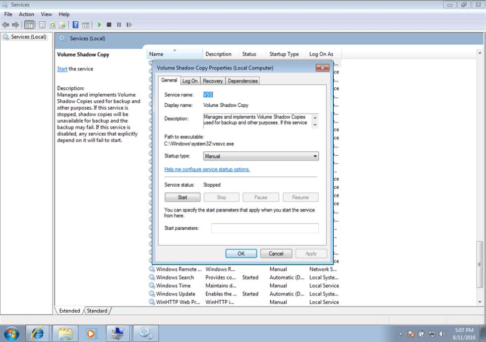 Windows shadow copy service screen