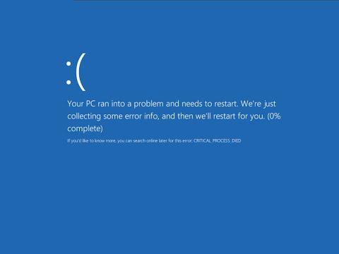 0x000000EF error screen