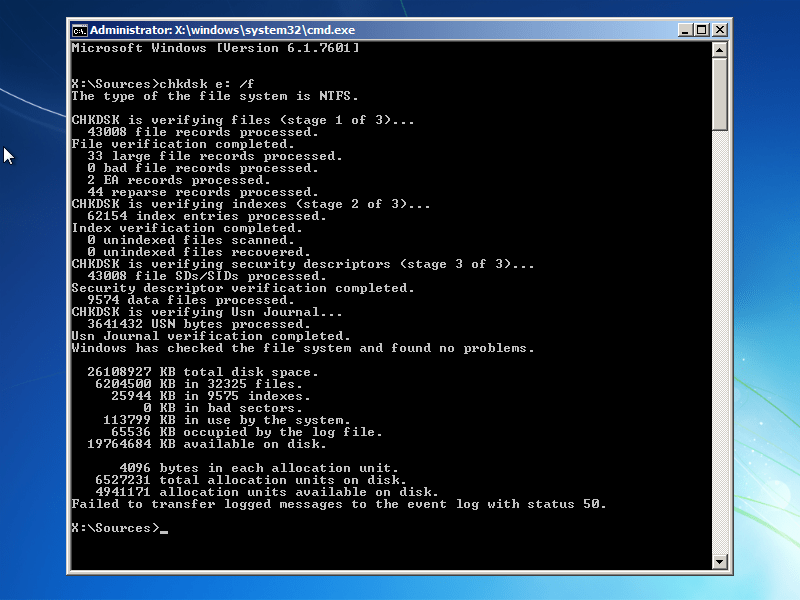 Windows 7 Chkdsk utility results screen