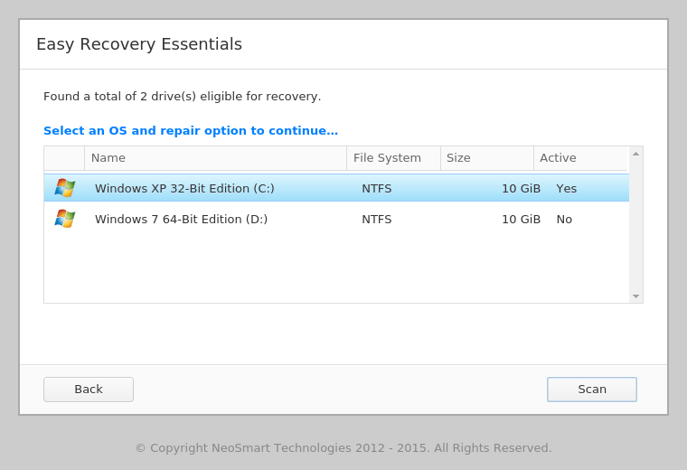 EasyRE Virus Scanner select OS screen