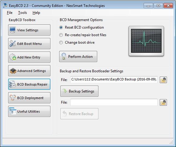 EasyBCD BCD backup-repair screen