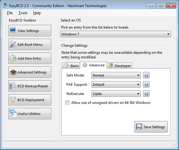 EasyBCD advanced settings - advanced tab