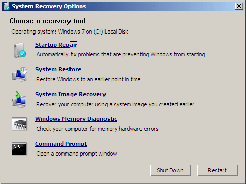 Startup Repair lists all available recovery options, choose a recovery tool