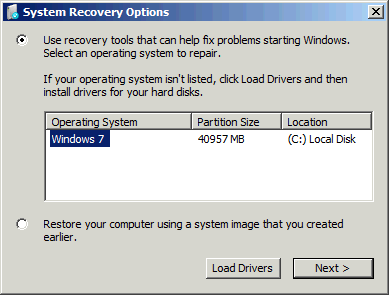 Startup repair lists available operating systems to repair.